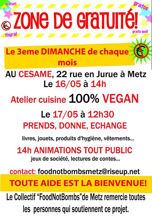 Collectif food not bombs metz for Atelier cuisine metz